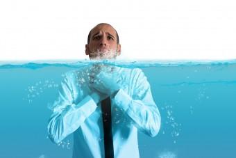 Das Wasser bis zum Hals ...